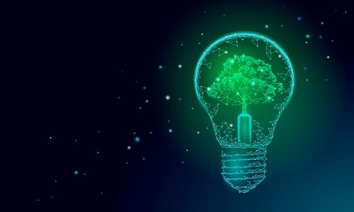 Light Bulb lamp saving energy ecology concept. Polygonal light blue tree inside electricity green energy power banner vector illustration