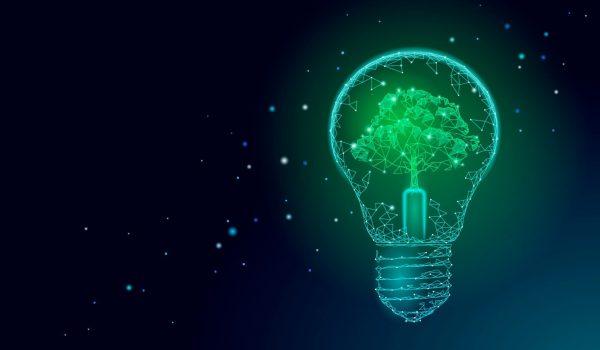 Light Bulb lamp saving energy ecology concept. Polygonal light blue tree inside electricity green energy power banner vector illustration